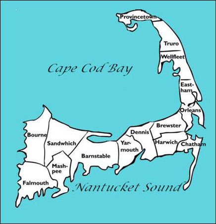 Detailed Map of Cape Cod Towns and Villages on